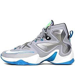 Nike Men\'s Lebron XIII, WOLF GREY/WHITE-BLUE LAGOON-DARK GREY, 10 M US