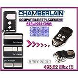 CHAMBERLAIN 4330E, 4332E, 4333E, 4335E compatible émetteur de remplacement de la télécommande,433.92Mhz rolling code , clone