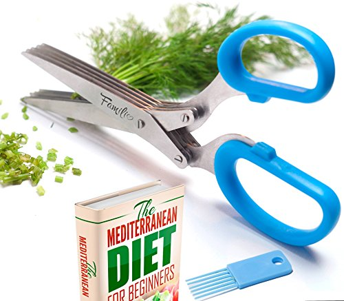 Familio Herb Scissors - Stylish Kitchen Shear - E-BOOK BONUS - Multipurpose gadgets with 5 Multi Blades and Cleaning Comb - Heavy Duty Stainless Steel - Chopper Cutter Fresh and Dry Herbs - Color Blue