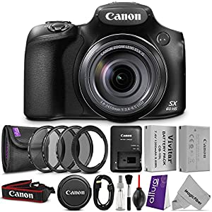 Canon PowerShot SX60 HS Digital Camera w/ Essential Bundle - Includes: Altura Photo UV-CPL-ND4, Mini HDMI Cable, 67mm Lens Adapter Ring, Vivitar NB-10L Replacement Battery, Camera Cleaning Set