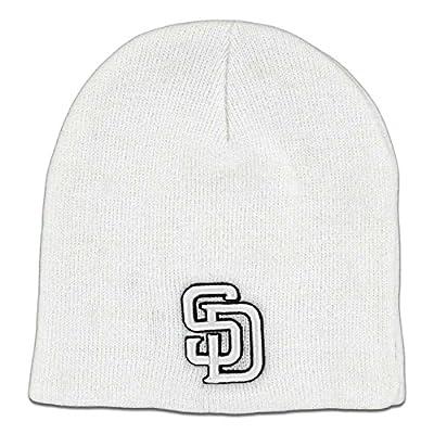 TWINS ENTERPRISE San Diego Padres Cuffless Beanie White / White / Black SD Logo