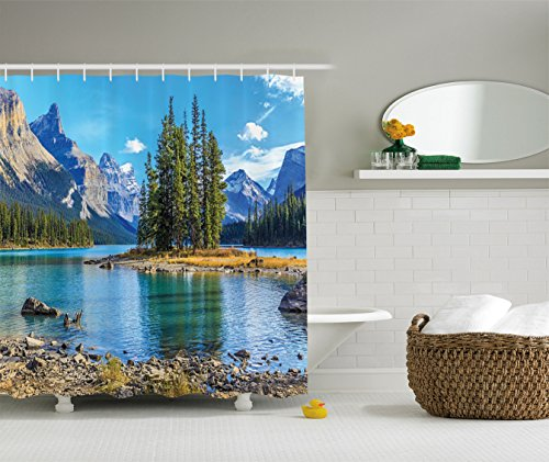 Ambesonne Lakehouse Decor Collection, Scenery of Spirit Island on Maligne Lake Canada in a Summer Time Covered with Mountains Image, Polyester Fabric Bathroom Shower Curtain, 75 Inches Long, Green (Canada Shower Curtain compare prices)