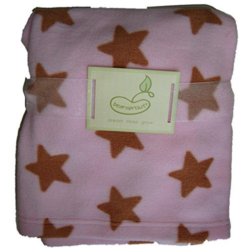 Beansprout Pink with Brown Stars Baby Girls Blanket - 1