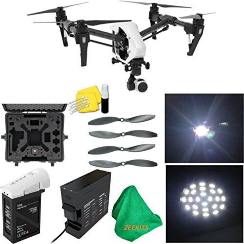 DJI Inspire 1 V2.0 Quadcopter With Single Remote + Deluxe Hard Case + 4pcs Carbon Fiber Propellers + ZEEKITS Microfiber Cloth + Lens Cleaning Kit for DJI + LED Headlight