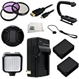 62MM 12PC Accessory Kit For Panasonic Lumix DMC-FZ1000 4K QFHD/HD Digital Camera Includes 3 Piece Filter Kit (UV-CPL-FLD) + 2 Extended Life Replacement Batteries (DMW-BLC12) + AC/DC Rapid Home & Travel Charger + Micro HDMI Cable + LED Video Light + St
