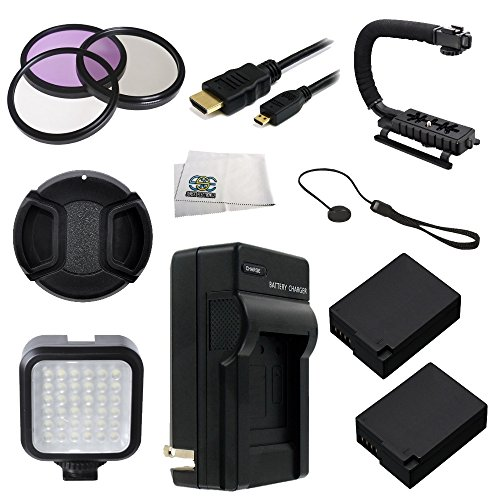 62Mm 12Pc Accessory Kit For Panasonic Lumix Dmc-Fz1000 4K Qfhd/Hd Digital Camera Includes 3 Piece Filter Kit (Uv-Cpl-Fld) + 2 Extended Life Replacement Batteries (Dmw-Blc12) + Ac/Dc Rapid Home & Travel Charger + Micro Hdmi Cable + Led Video Light + Stabil