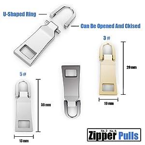 Zipper Pulls #5#3 8PCS - 4 Colors Metal Zipper Fixer Repair Replacement Pullers Metal-Plated Kits Zipper Sliders Zipper Pullers for Backpack Suitcase Jacket Bags Coat by FENGWANGLI (Color: 4)