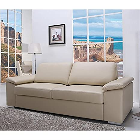 Gold Sparrow Hampton Leather Sofa in Beige