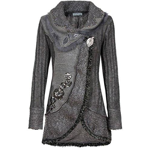 Damen Strick Woll Patchwork Jacke Mantel Strickjacke Wolljacke Patchworkjacke S M L XL, Farbe:Grau;Größe:36/38