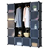 schrank regal kleiderschrank garderobe 184 x 148 x 37 cm schwarz. Black Bedroom Furniture Sets. Home Design Ideas