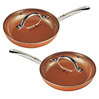 "Copper Chef 10"" Round Pan with Lid 2 Pack from Tristar Products"