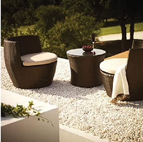 Akula Living 3-Piece All Weather Aegean POD Table and Chairs-Comprises of 2 chairs and a coffee table plus cushions that stacks into a unique decorative garden showpiece.