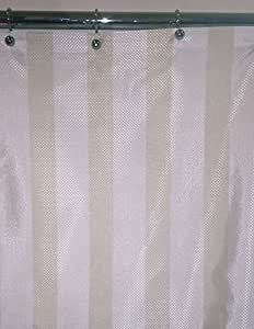Extra Long Natural Hotel Stripe Fabric Shower Curtain 96 Long