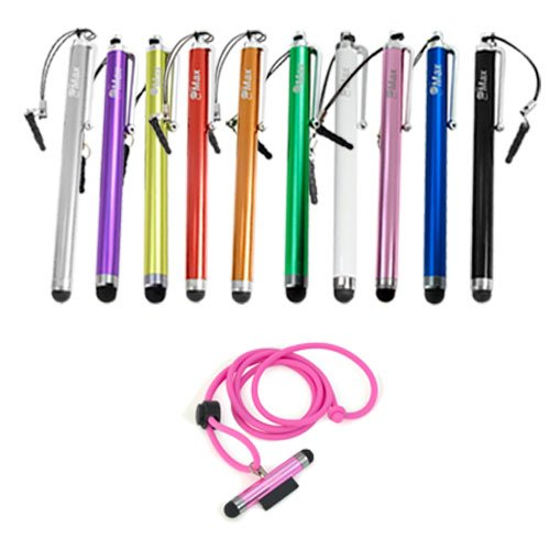 ikross Pink Dust Cap Stylus+10 Stylus Pen for Pantech 8035, 8992, 8995, 8999, P2020, P2030, P5000, P6010, P7000, P8000, P9050, P9020, P9060, P9070. P7040, P2000, TXT8040, TXT8045, Caper, Hotshot, Breakout, Crux, Ease, Breeze III, II, I, Link II, I, Pursuit II, I, Impact, Crossover, Laser, Pocket, Burst, Jest Huawei, prism, iPhone, iTouch and other Touch Screen Cell Phone, Smartphone, Tablet