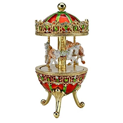 Merry Go Round Carousel MUSIC BOX Austrian Crystals White Dancing Horses Vintage Antique Style Flowered