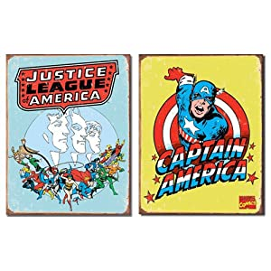 Nostalgic Superhero Tin Metal Sign Bundle - 2 comic book hero signs: Justice League of America Retro & Captain America Retro 0148