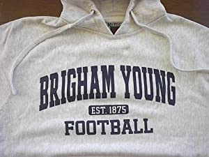 Brigham Young FOOTBALL Hooded Sweatshirt LARGE by J. America
