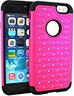 myLife 2 Layer Hybrid Bumper Case for iPhone 6 Plus (5.5 Inch) by Apple {Shocking Pink + Black Luxury Diamond Design Two Piece SECURE-Fit Rubberized Gel}