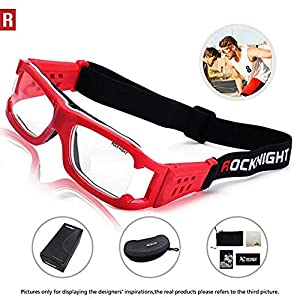 3eb6c2ec19 ROCKNIGHT Sports Goggles Safety Glasses Adjustable Eyewear for Basketball  Football Volleyball for Men Women Red (Color  Adult ...