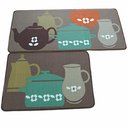 Ustide 2-piece Designer Teapot Print Area Rug,Unique Room Floor Mats,Modern Kitchen Rugs (Teapot Mat compare prices)