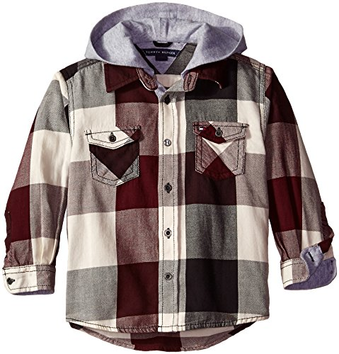 Tommy Hilfiger Little Boys' Long Sleeve Ansel Plaid Hooded Shirt, Crushed Berry, 2T