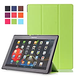Lenovo Tab 2 A10-30F Case, Pasonomi Ultra Slim Lightweight PU Leather Folio Case Stand Cover With Smart Cover Auto Wake / Sleep Feature for Lenovo Tab 2 A10-30F 10-inch Tablet (Green)