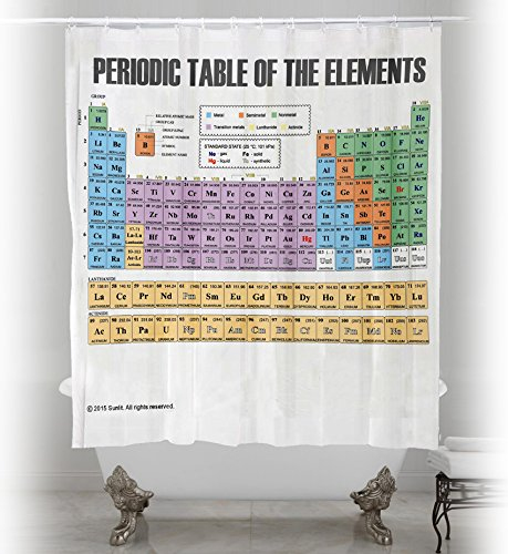 Updated Periodic Table of Elements Shower Curtain. PVC Free, Odorless Non-Toxic Fabric. (Period Table Shower Curtain compare prices)