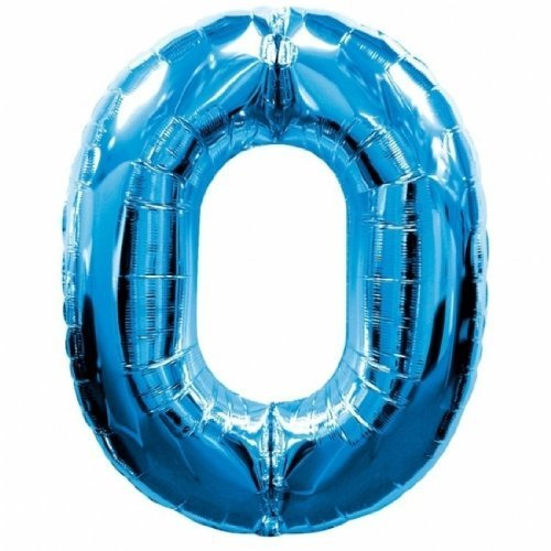 Anagram Number 0 Zero Supershape 34in Blue Mylar Balloon