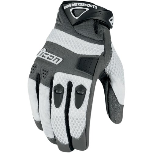 Icon Anthem Men's Leather/Mesh Streetbike Motorcycle Gloves - White / Large
