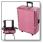 Pink Crocodile Textured Printing Professional Rolling Studio Makeup Case with lights, legs & mirror