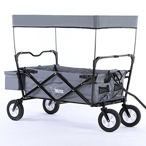 faltbarer fuxtec bollerwagen jw 76 a mit dach im test. Black Bedroom Furniture Sets. Home Design Ideas