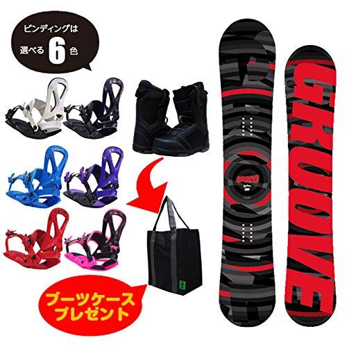 GROOVE メンズ スノーボード 3点セット CYCHROME(Red) Size:155+ブーツケースプレゼント ビンディング色:Red,ブーツ:Black/Gray27cm