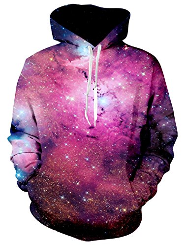 Raisevern Unisex 3D Printed Drawstring Pockets Hoodie Sweatshirts Plus Velvet, Large Galaxy Red (Cool Printed Hoodies compare prices)