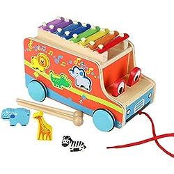 ACOOLTOY Holz Autos Ziehen Spielzeug mit Tier Formen Sortier 8 Tasten Musik Xylophon für Kinder Jungen Mädchen