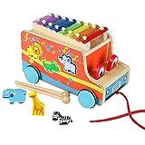Toy - ACOOLTOY Holz Autos Ziehen Spielzeug mit Tier Formen Sortier 8 Tasten Musik Xylophon f�r Kinder Jungen M�dchen