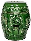 Safavieh Castle Gardens Collection Chinese Dragon Ceramic Garden Stool, Green