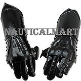 Undead Medieval Conquest Armor Gauntlets of Dexterity Night Warrior Black - 18G Functional Carbon Steel By NAUTICALMART