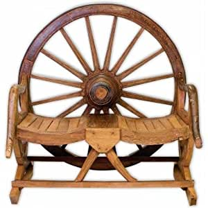 Amazon Com Rustic Wagon Wheel Bench In Teak Storage