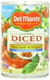 Del Monte Diced Tomatoes with Basil, Garlic, Oregano No Salt Added, 14.5-Ounce (Pack of 12)