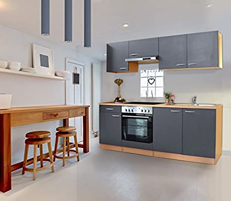 respekta KB210BGEC - Bloque de cocina (210 cm, vitrocerámica), color gris