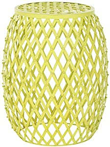 Safavieh Home Collection Lydia Steelworks Iron Stripes Stool, Yellow Matte