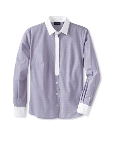 Façonnable Women's Striped Button-Up Shirt  [Purple]