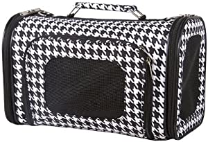 Black and White Houndstooth Pet Dog Cat Carrier - 16""