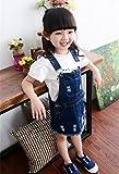 Hot Seal 子供 デニムサロペット フレアスカート キッズ デニムスカート 女の子 デニムジーンズ (100(適応身長90cm))