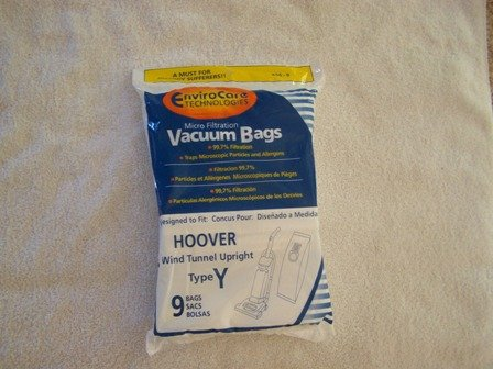 Hoover WindTunnel Upright Type Y Vacuum Bags Microfiltration with Closure - 9 Pack