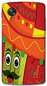 Timpax Protective Hard Back Case Cover Full access to all features. ports of the device including microphone, speaker, camera and all buttons. Printed Design : A cactus with a hat.Compatible with Google Nexus-5