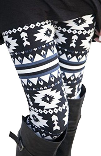 NORAME Women Boho Floral Leggings Christmas Snowflake Stocking Pants