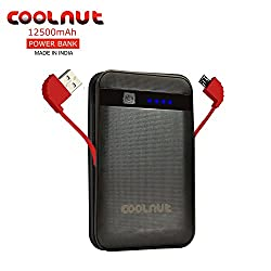 COOLNUT 12500mAh Power Banks Mobile Battery Charger with Inbuilt Cable (Black)