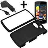 AM Hard Shield Shell Cover Snap On Case for Sprint, Virgin Mobile Kyocera Rise C5155 + Car Charger-Black