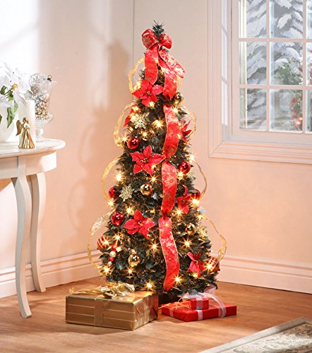4 ft Christmas Spruce Prelit Poinsettia Pull Up Tree